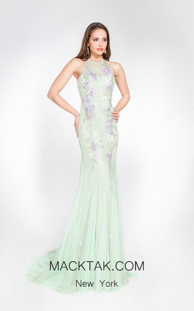 Alma Couture AC1068 Aqua Front Evening Dress