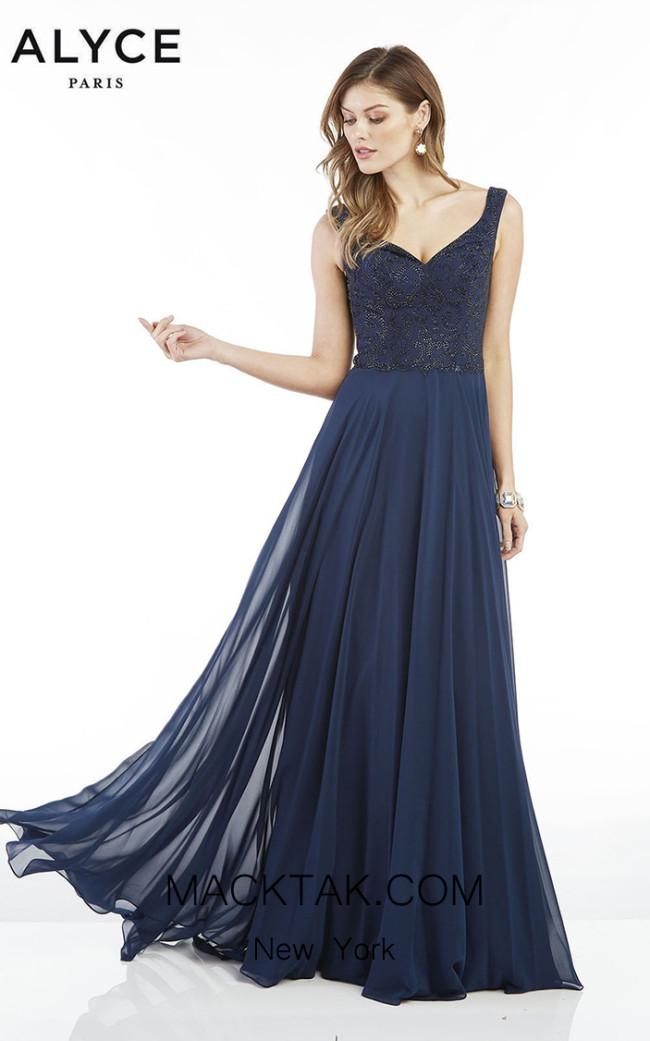 Alyce Paris 1385 Navy Front Dress
