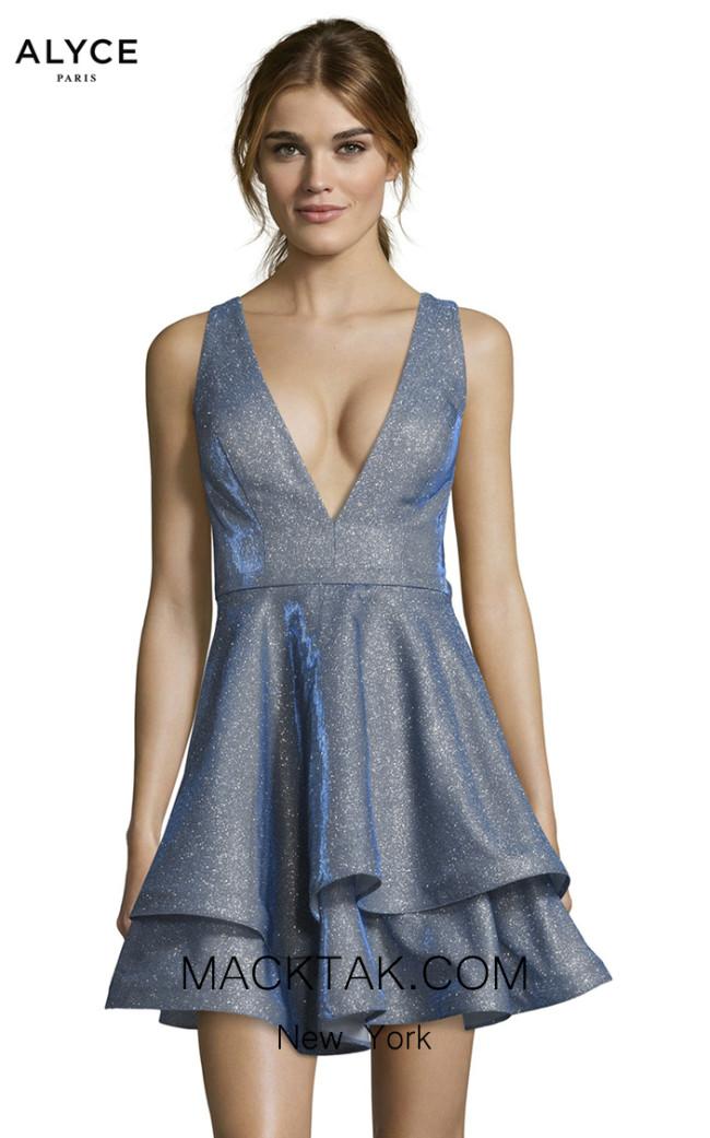 Alyce Paris 1481 Santorini Blue Front Dress