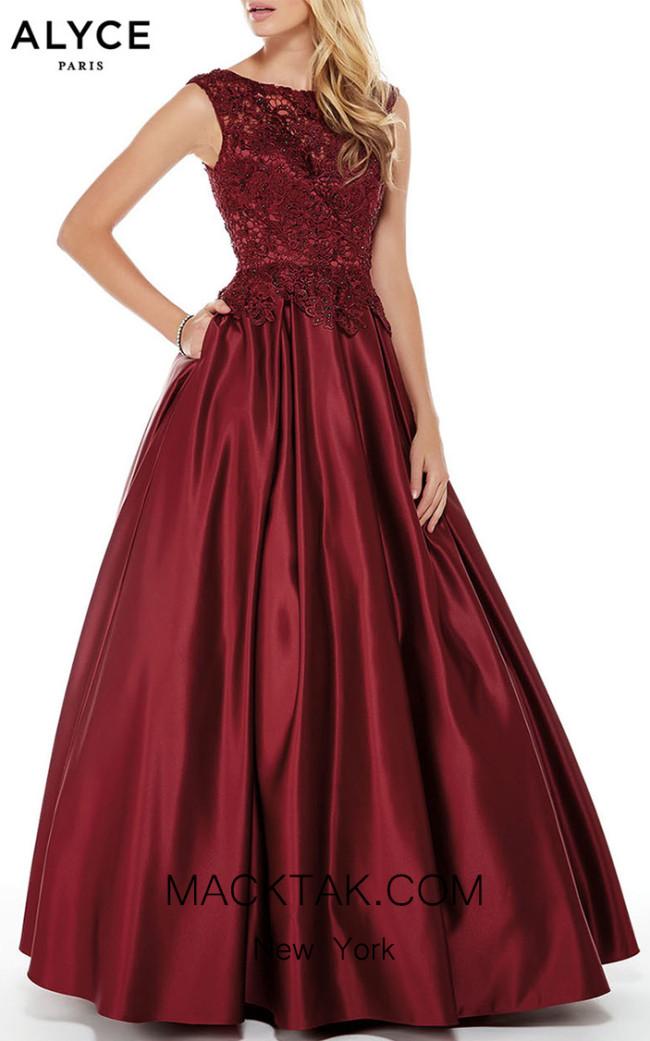 Alyce Paris 27010 Burgundy Front Dress