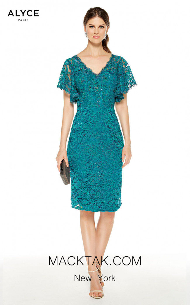 Alyce Paris 27353 Turkish Blue Front Dress