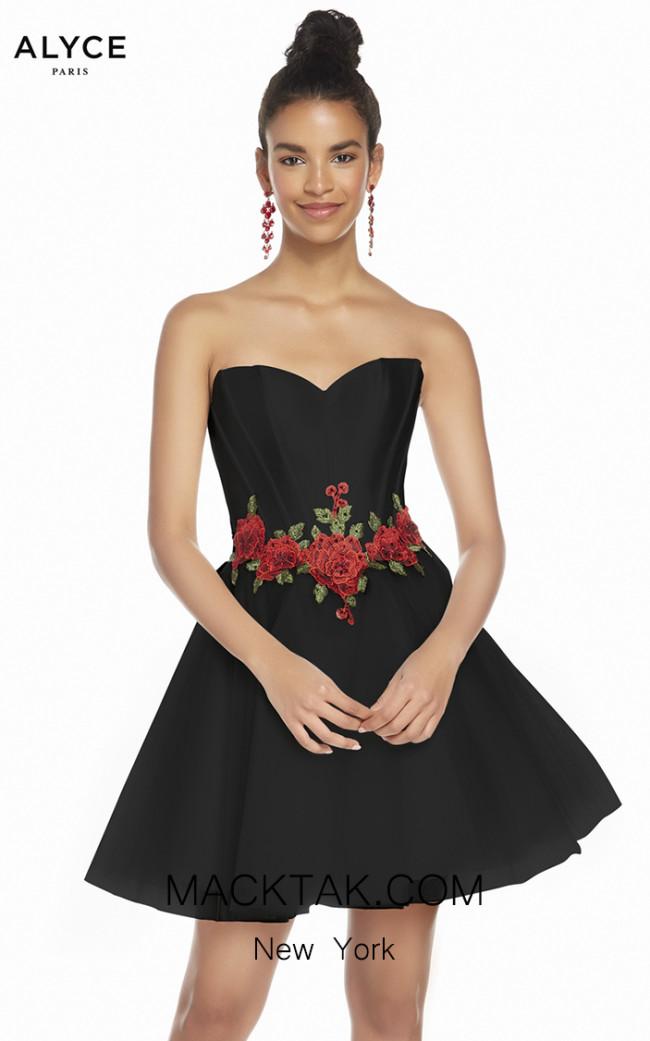 Alyce Paris 3867 Black Red Rose Front Dress