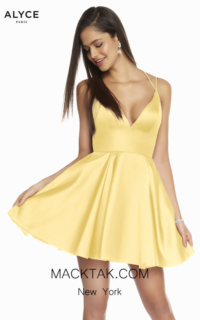Alyce Paris 3876 Yellow Front Dress