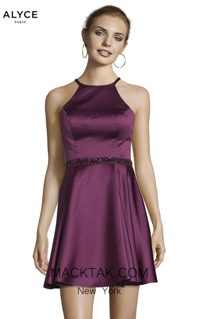 Alyce Paris 3878 Black Plum Front Dress