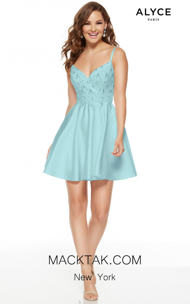 Alyce Paris 3932 Ice Blue Front Dress