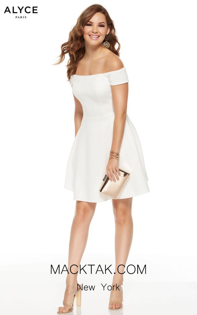 Alyce Paris 3940 Diamond White Front Dress