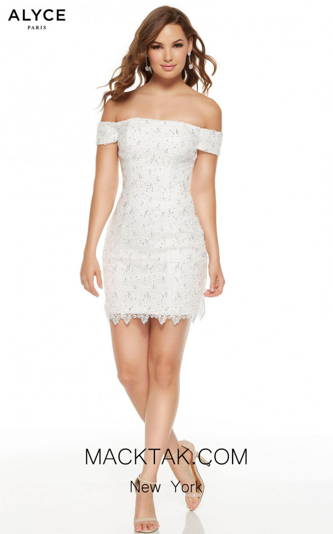 Alyce Paris 4228 Diamond White Front Dress