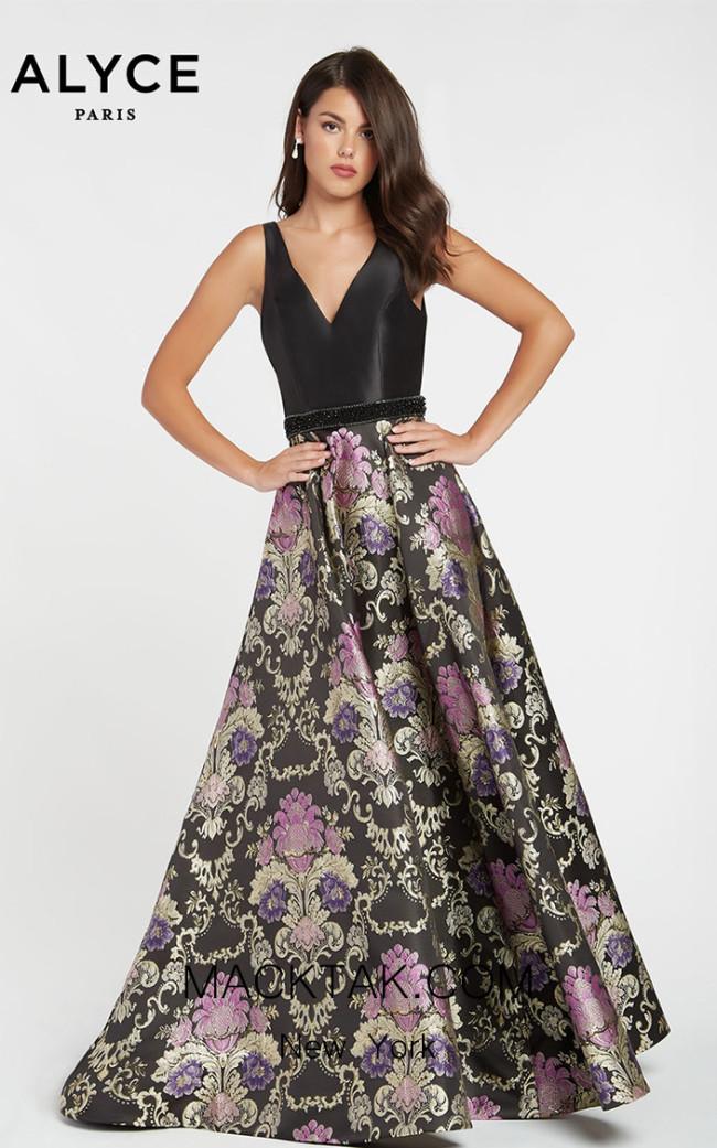 Alyce Paris 60399 Black Purple Front Dress