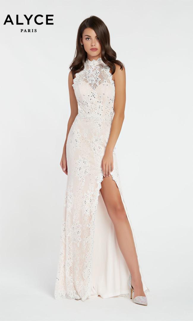 Alyce Paris 60485 Diamond White Blush Front Dress