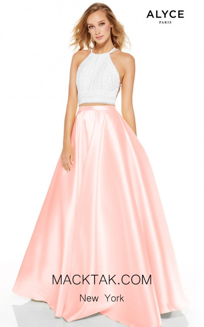 Alyce Paris 60614 Diamond White French Pink Front Dress