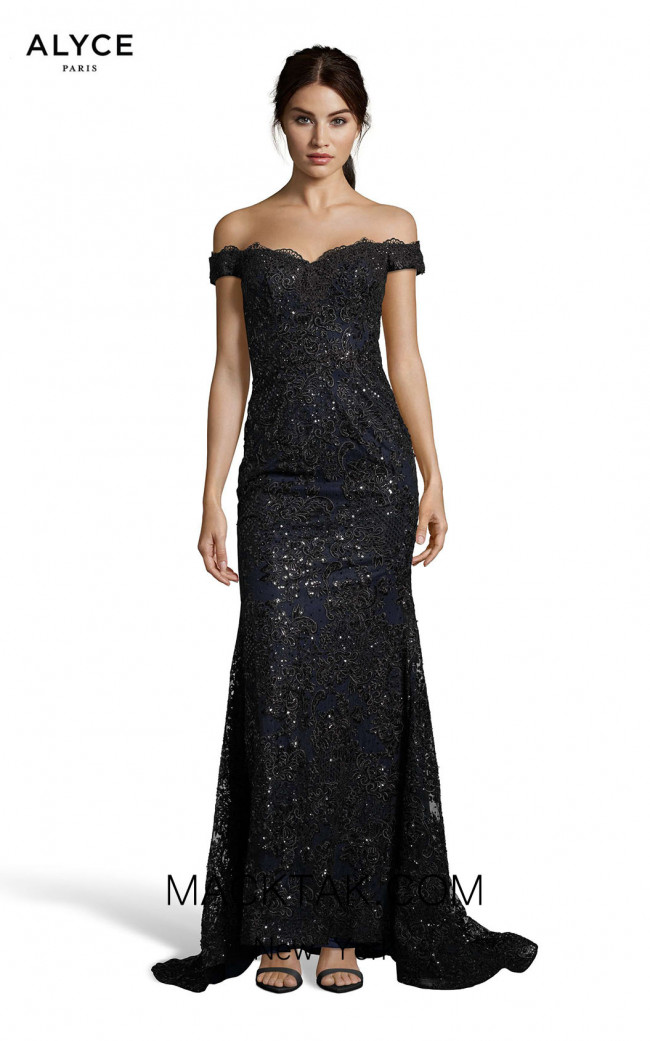 Alyce Paris 60651 Black Navy Front Dress