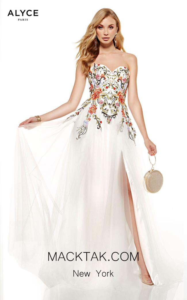 Alyce Paris 60699 Diamond White Multi Front Dress