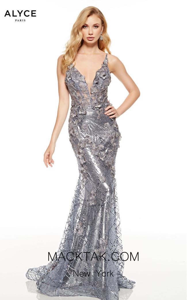 Alyce Paris 60740 Charcoal Back Dress