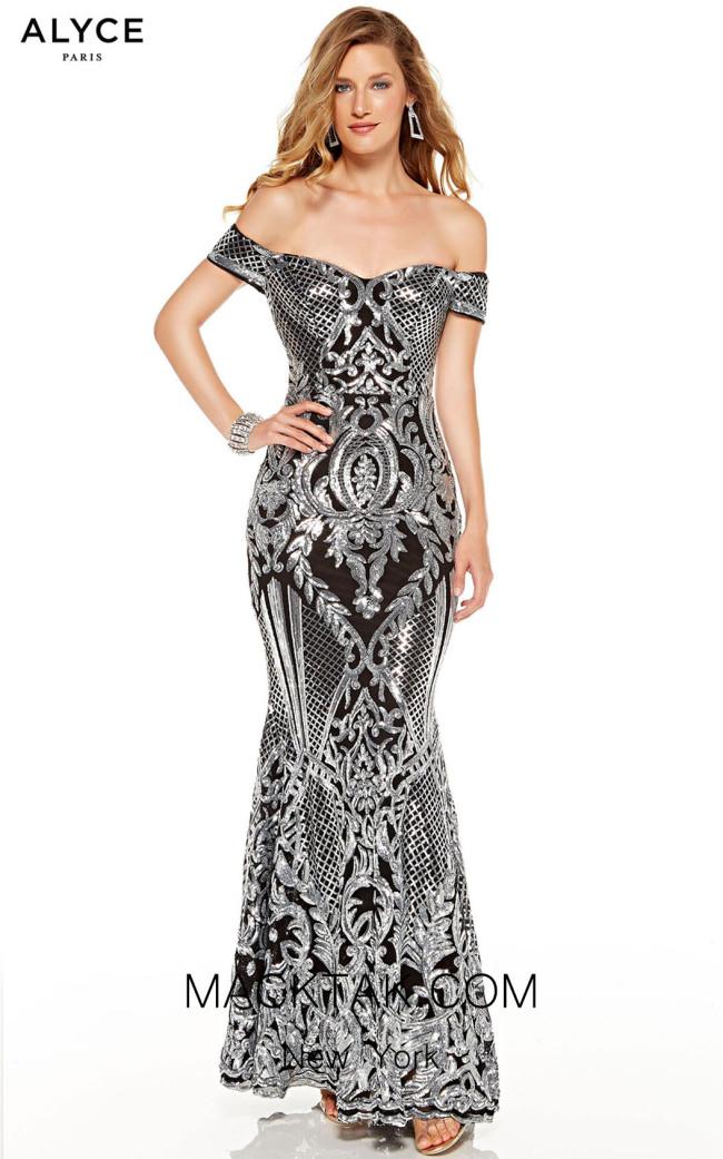 Alyce Paris 60814 Black Silver Front Dress