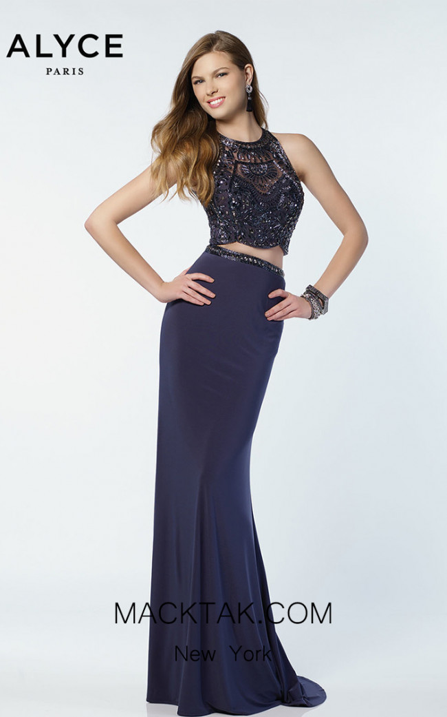 Alyce Paris 6711 Gray stone Front Dress