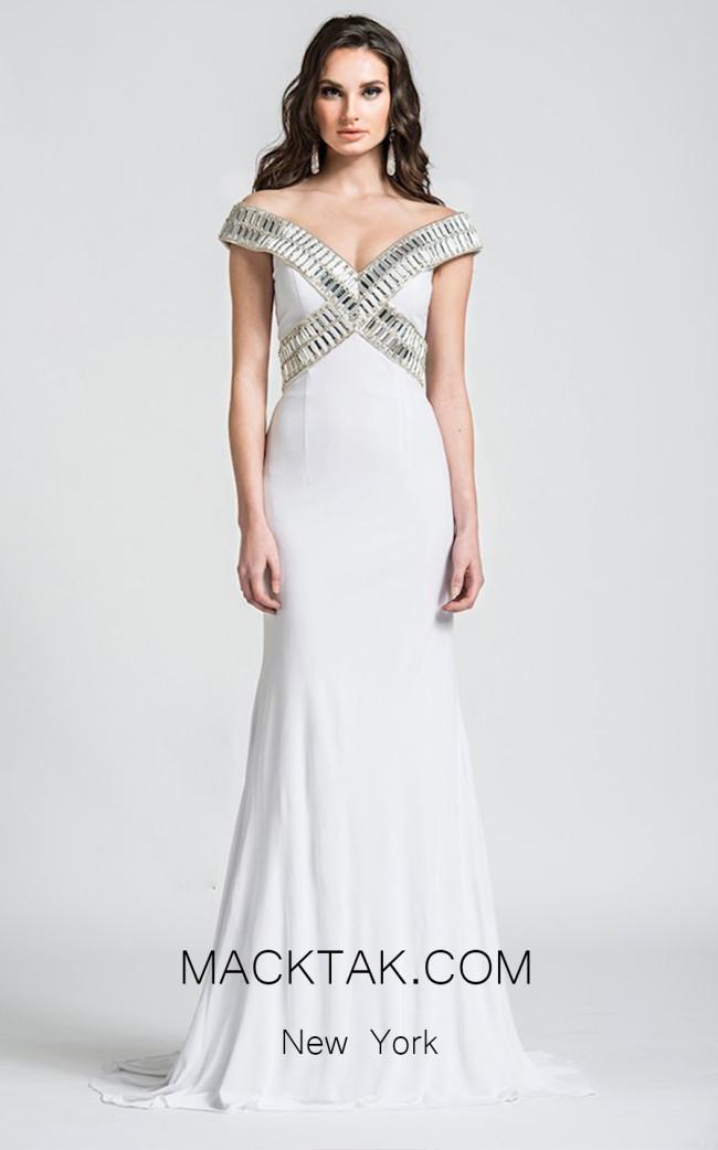 Ashley Lauren 1055 Ivory Front Dress