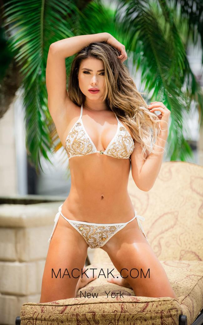 Baccio Adriana Bikini Spandex White Champagne Front