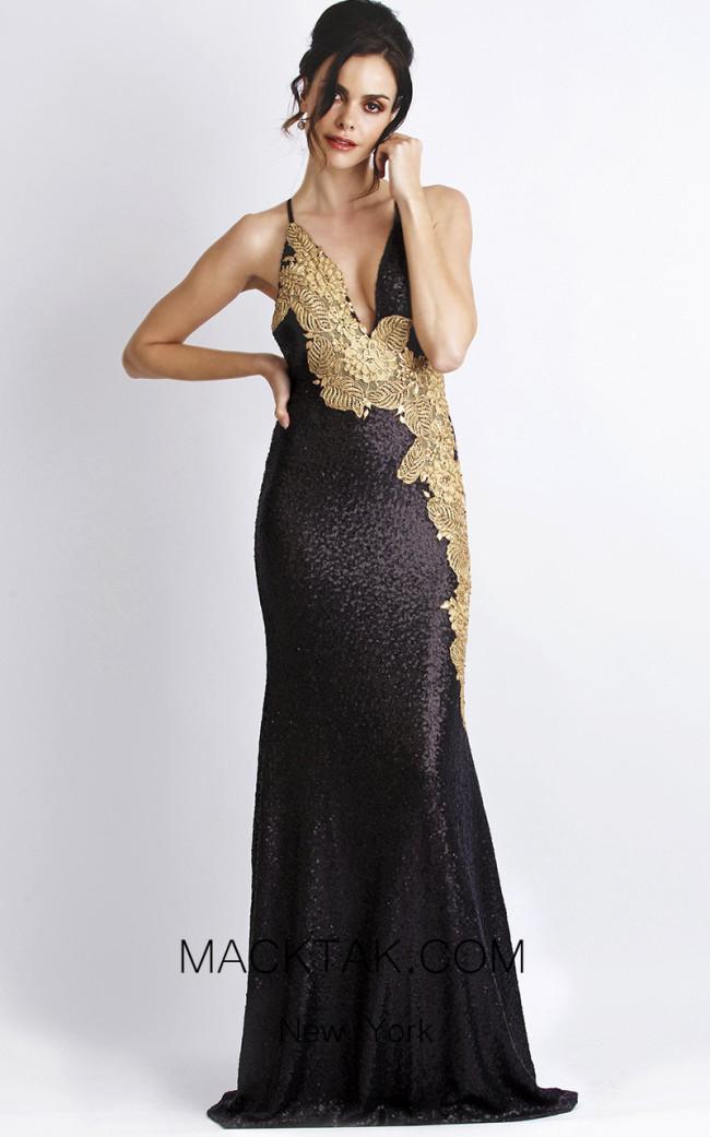 Baccio Alison Sequin Black Gold Front Dress