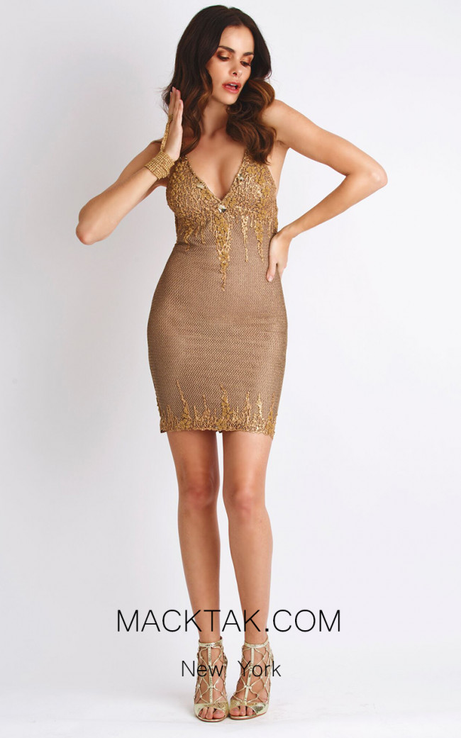 Baccio Kylie Metallic Gold Front Dress