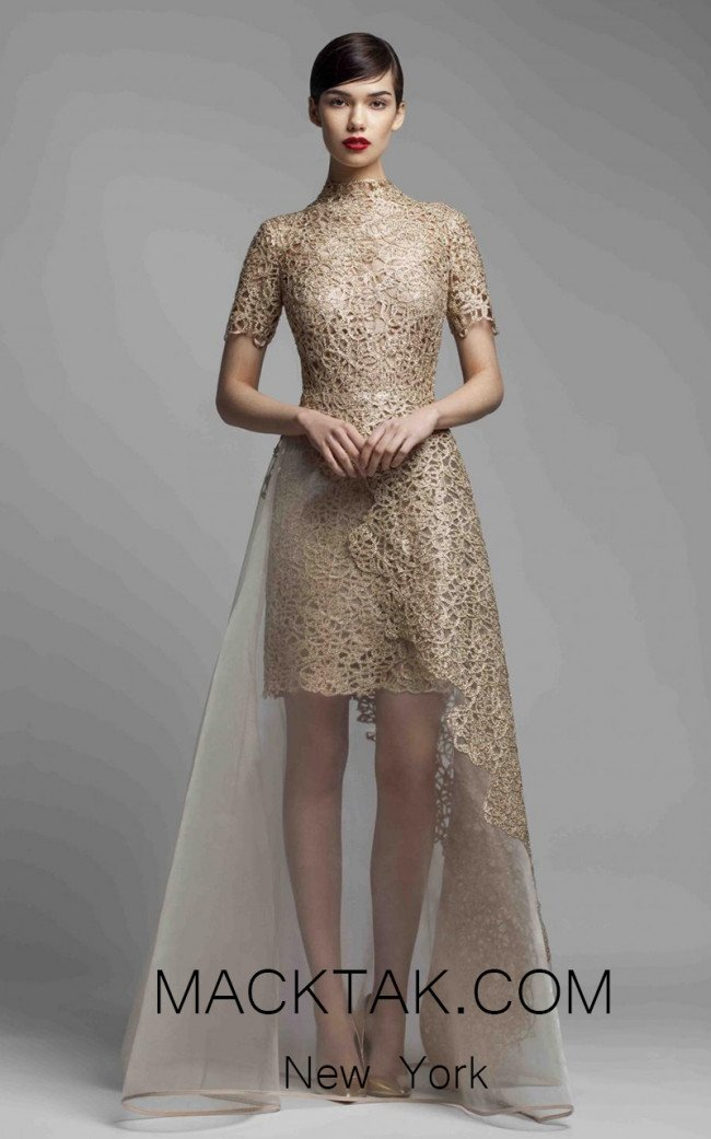 Beside Couture 1381 Gold Front Dress