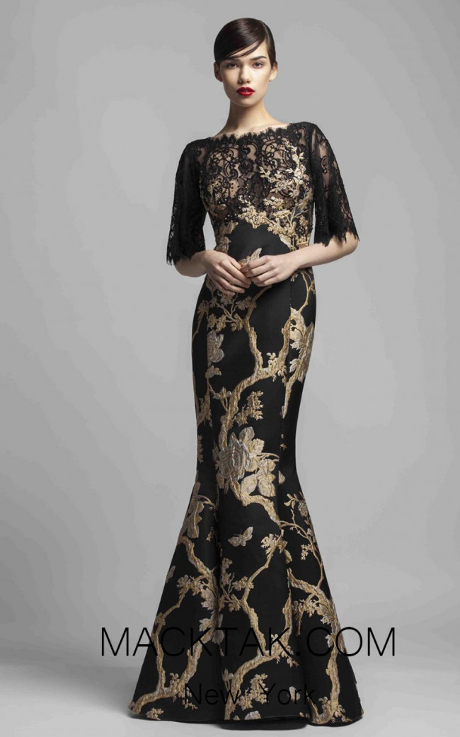 Beside Couture 1383 Gold Black Front Dress