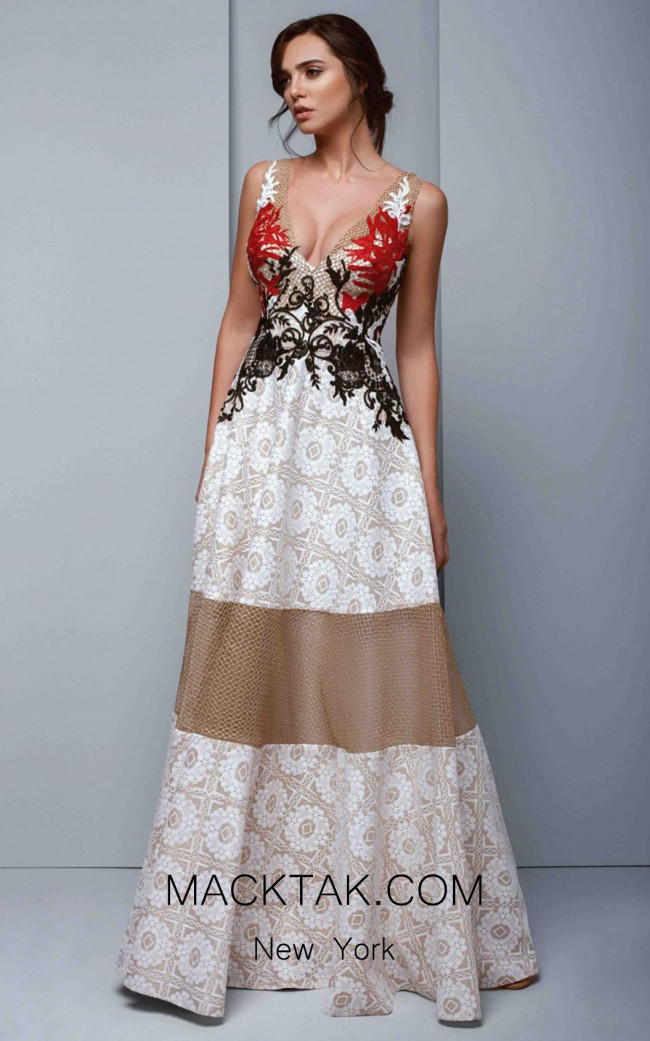 Beside Couture 1328 Ivory Gold Red Front Dress
