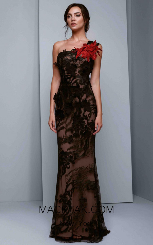 Beside Couture 1332 Black Red Front Dress