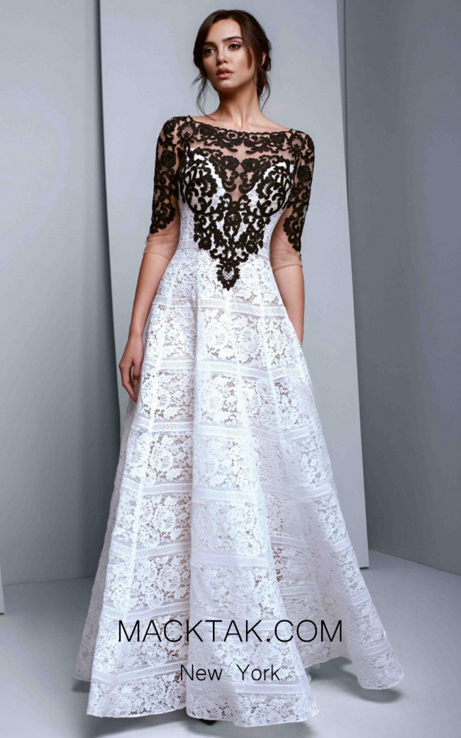Beside Couture 1340 Ivory Black Front Dress
