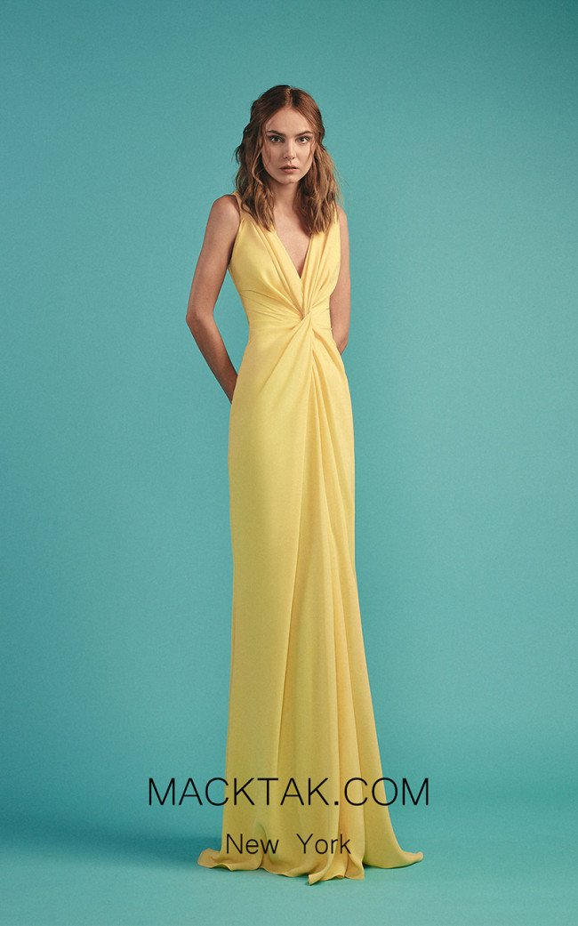 Beside Couture by Gemy Maalouf BC1481 Yellow Front Evening Dress