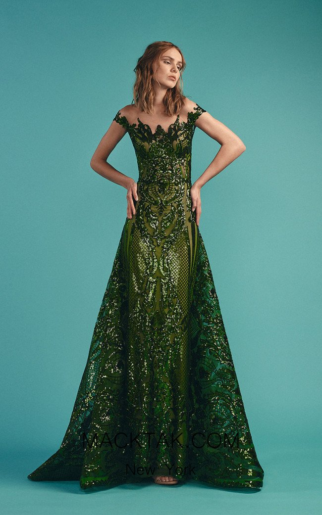 Beside Couture by Gemy Maalouf BC1486 Green Front Evening Dress
