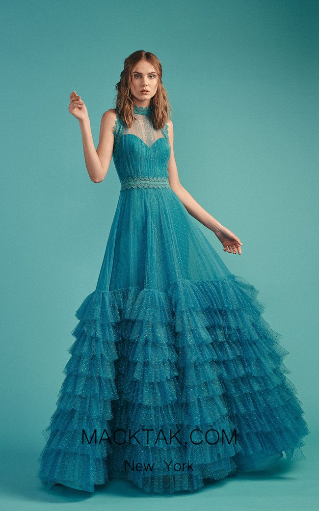 Beside Couture by Gemy Maalouf BC1491 Blue Front Evening Dress
