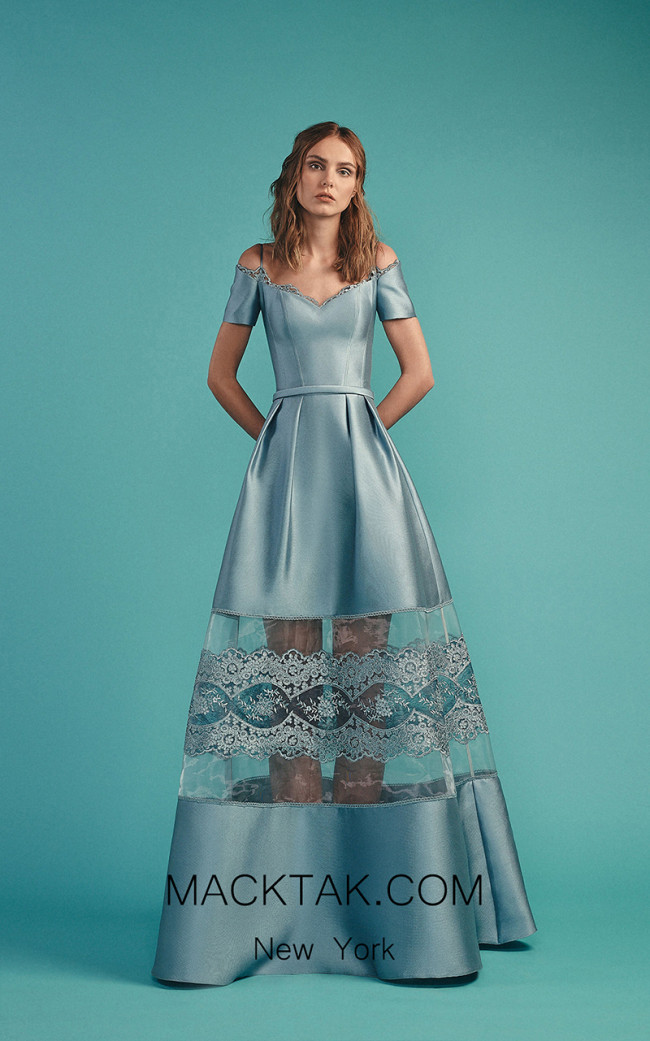 Beside Couture by Gemy Maalouf BC1492 Blue Front Evening Dress