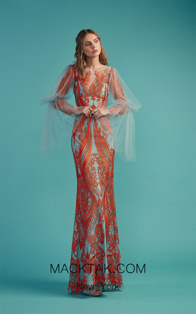 Beside Couture by Gemy Maalouf BC1498 Orange Blue Front Dress