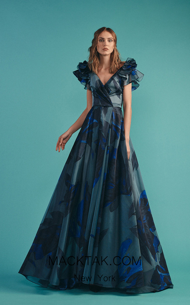 Beside Couture by Gemy Maalouf BC1526 Blue Front Dress