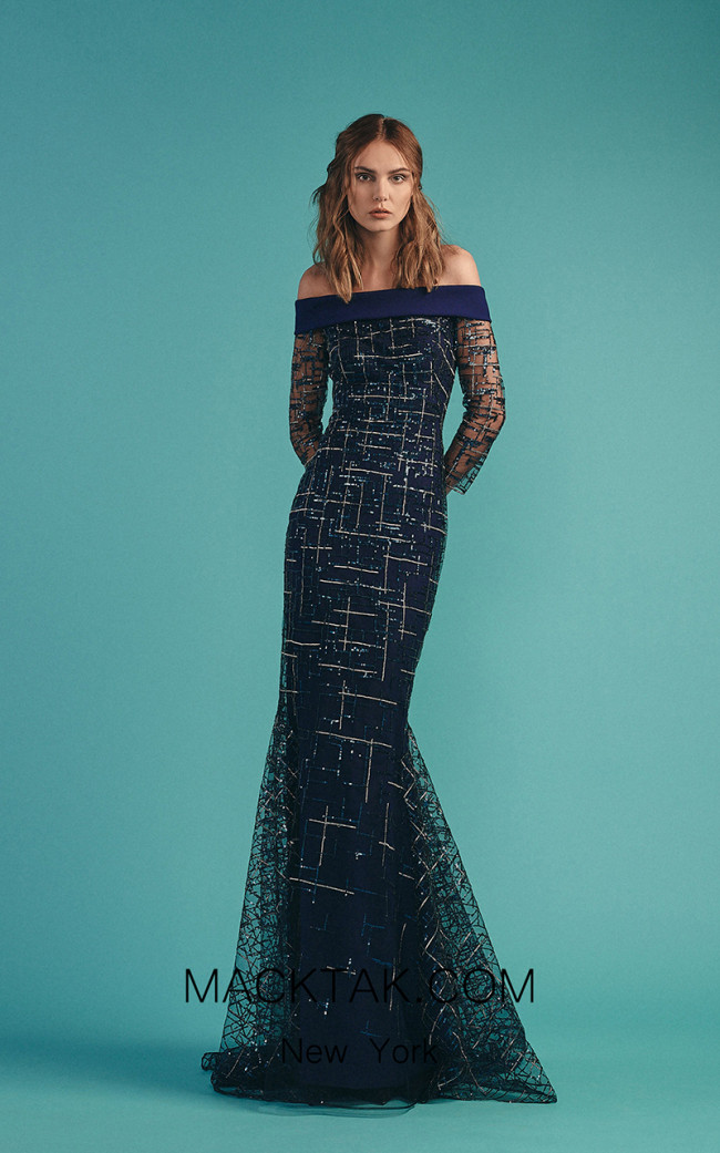Beside Couture by Gemy Maalouf BC1527 Blue Front Dress