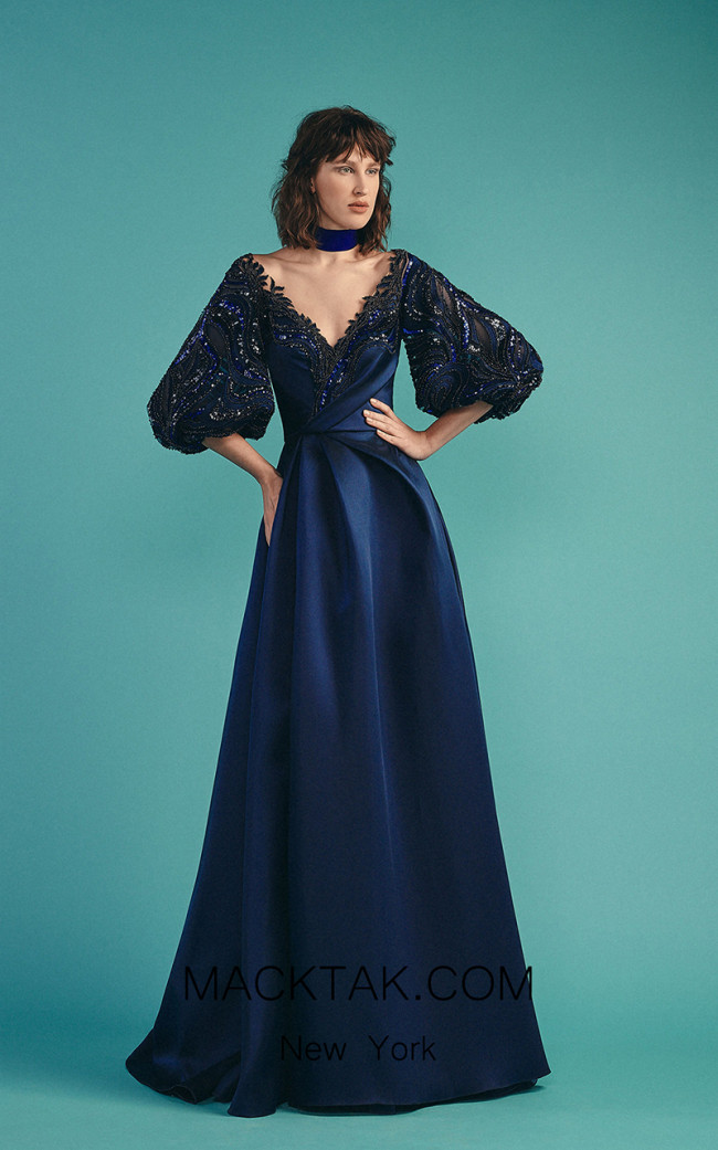 Beside Couture by Gemy Maalouf BC1528 Navy Front Dress