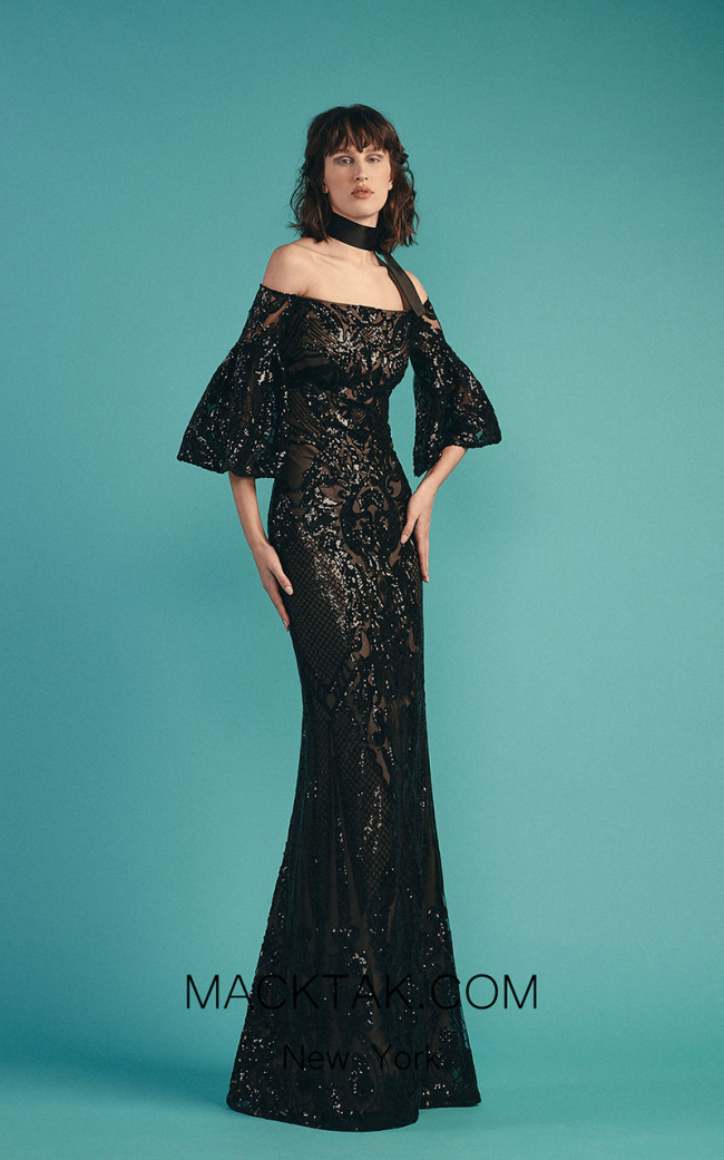 Beside Couture by Gemy Maalouf BC1533 Black Front Dress