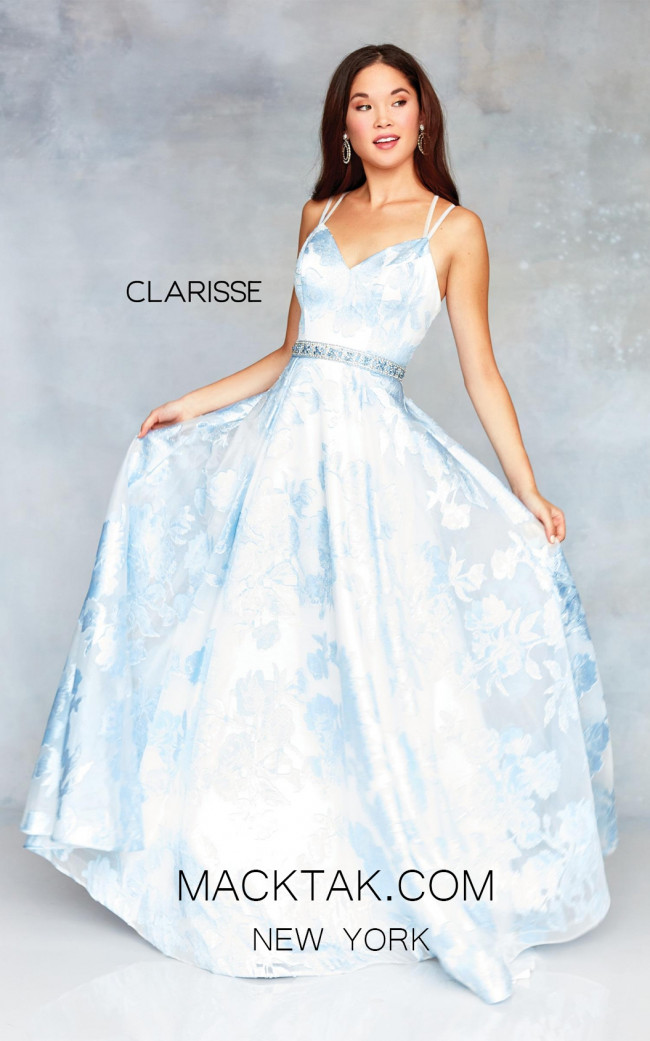 Clarisse 3704 Frost Blue Print Front Prom Dress