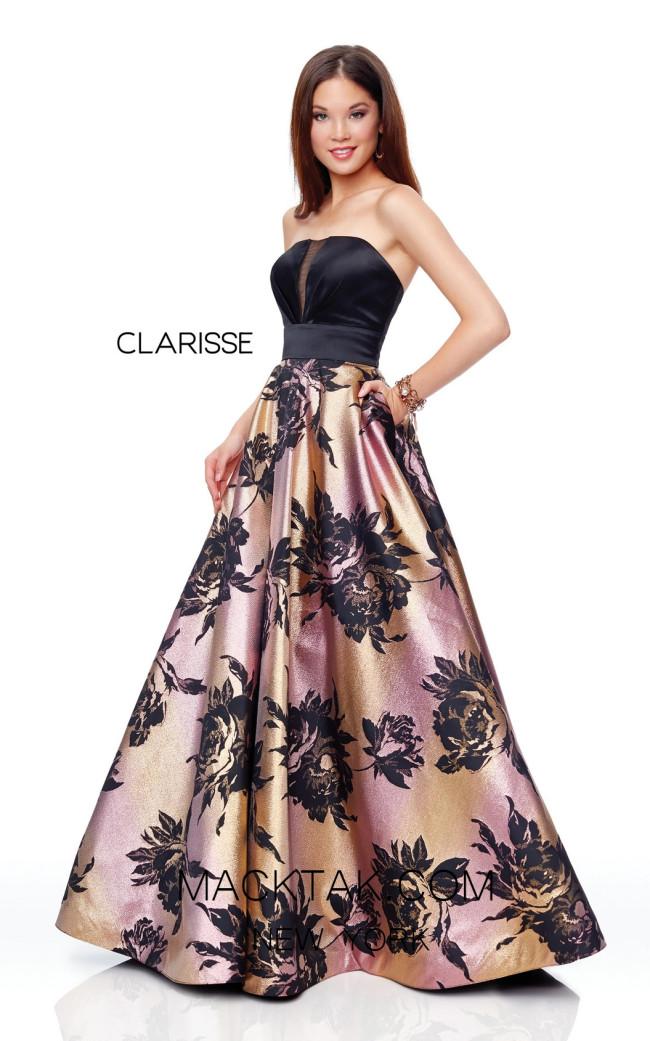 Clarisse 3718 Sunset Print Front Prom Dress