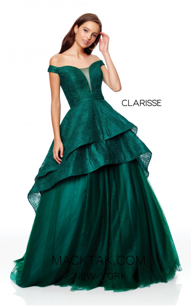 Clarisse 3730 Forest Green Front Prom Dress