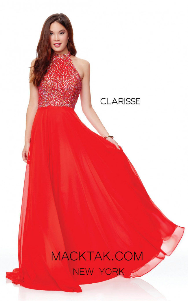 Clarisse 3750 Lipstick Red Front Prom Dress