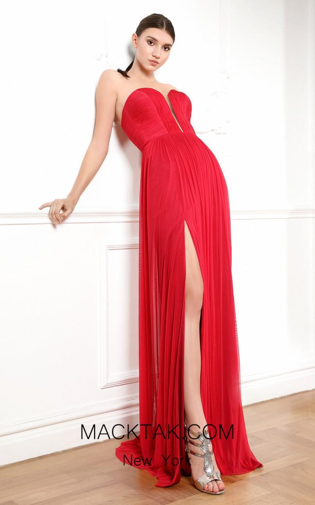 Cristallini SKA676 Dark Red Front Dress
