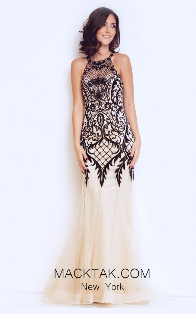 Dynasty 1013113 Front Champagne & Black Dress