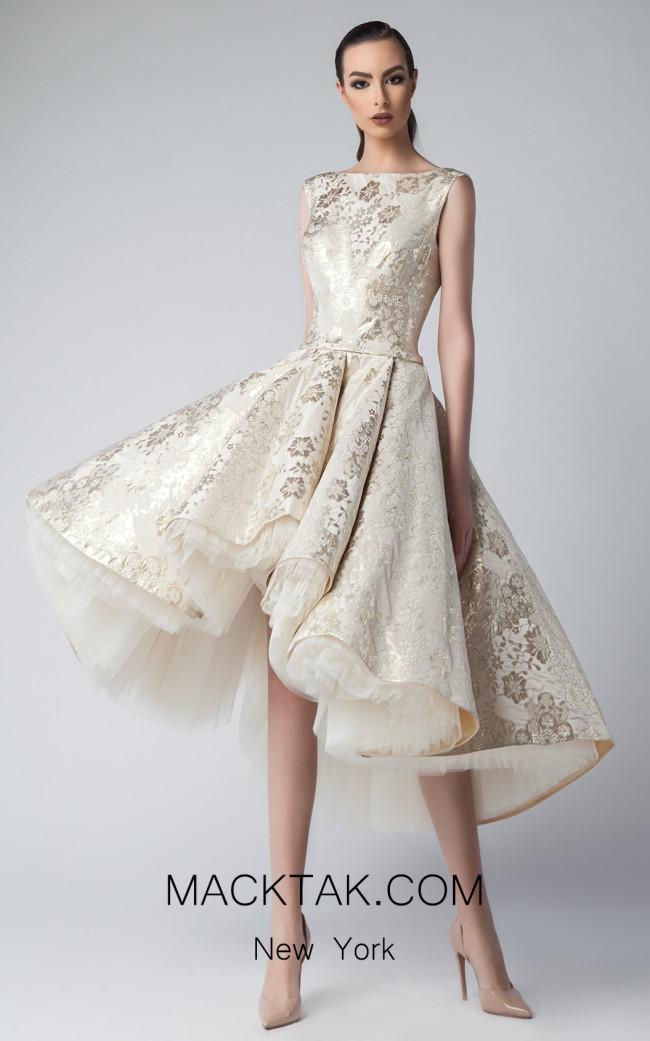 Edward Arsouni FW0221 Champagne Front Dress