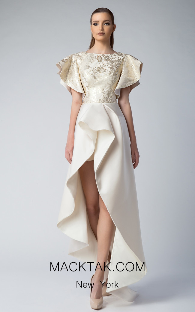 Edward Arsouni FW0222 Beige Gold Front Dress
