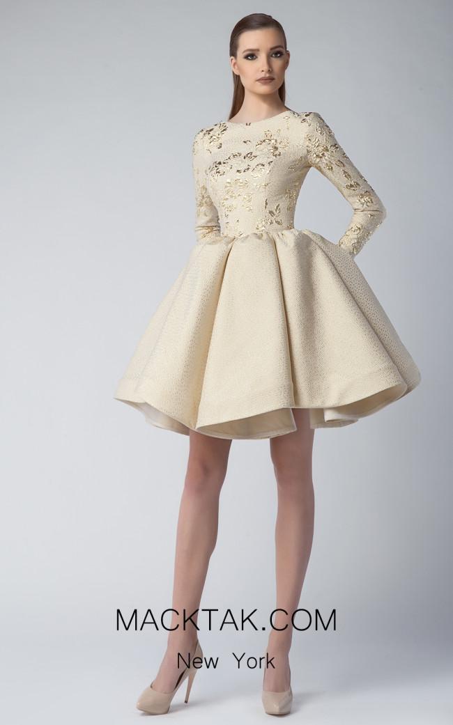 Edward Arsouni FW0224 Gold Front Dress