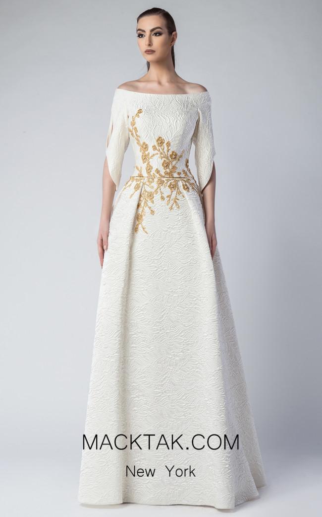 Edward Arsouni FW0227 Ivory Gold Front Dress