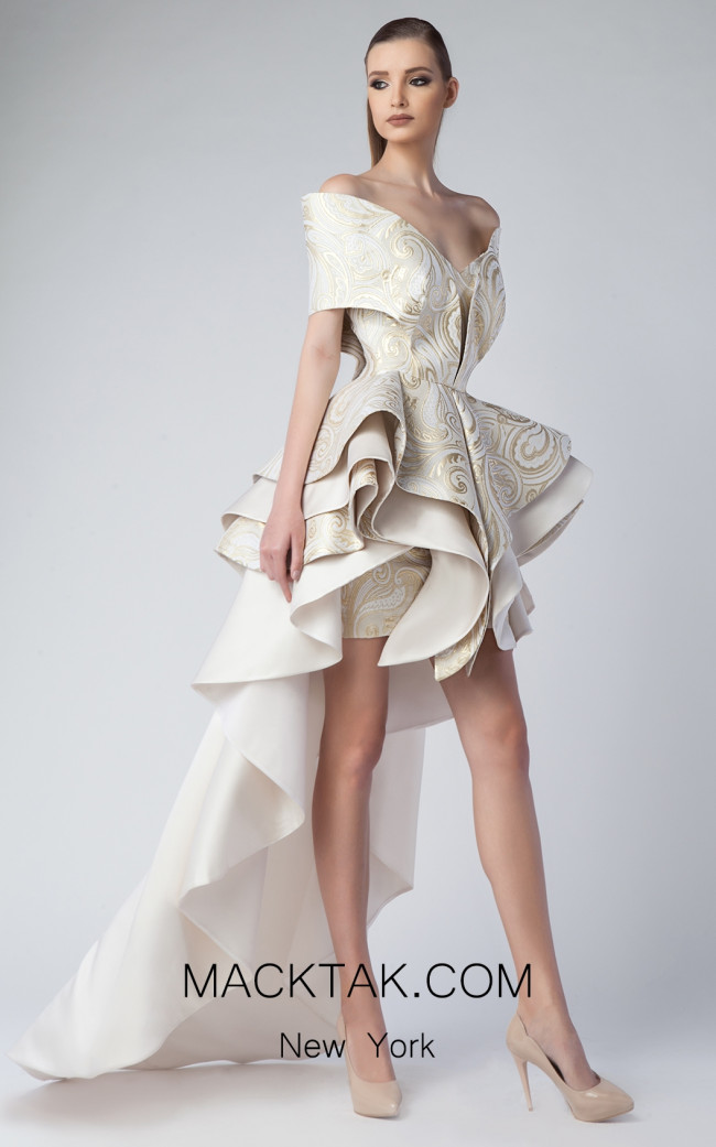 Edward Arsouni FW0229 Ivory Gold Front Dress