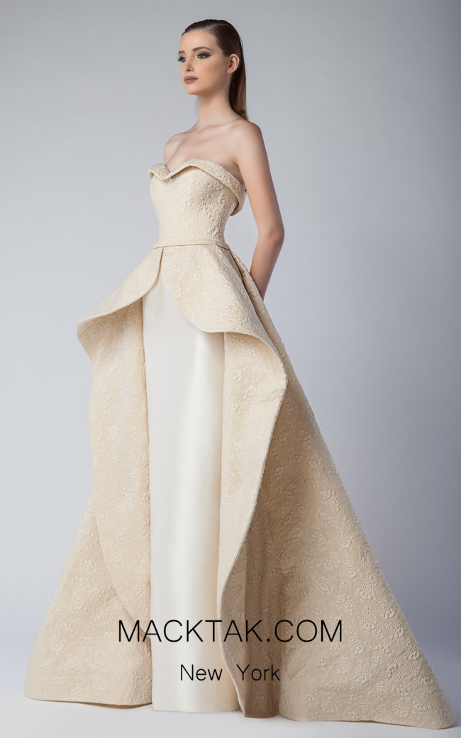 Edward Arsouni FW0231 Champagne Gold Front Dress