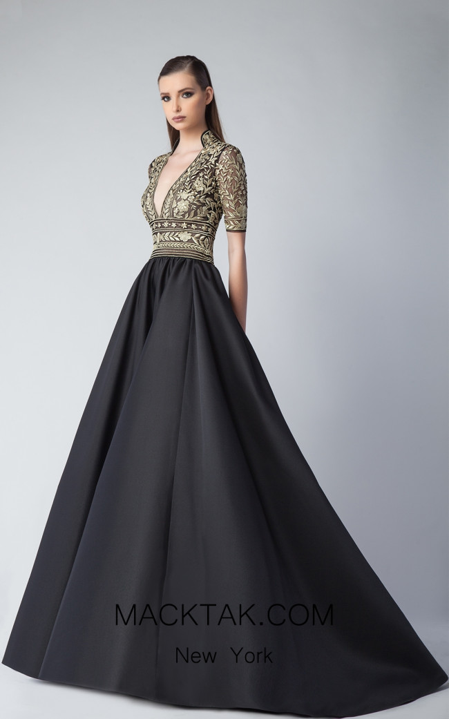 Edward Arsouni FW0239 Black Gold Front Dress